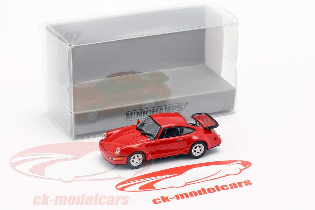 Porsche 911 Turbo (964) Opførselsår 1990 rød 1:87 Minichamps