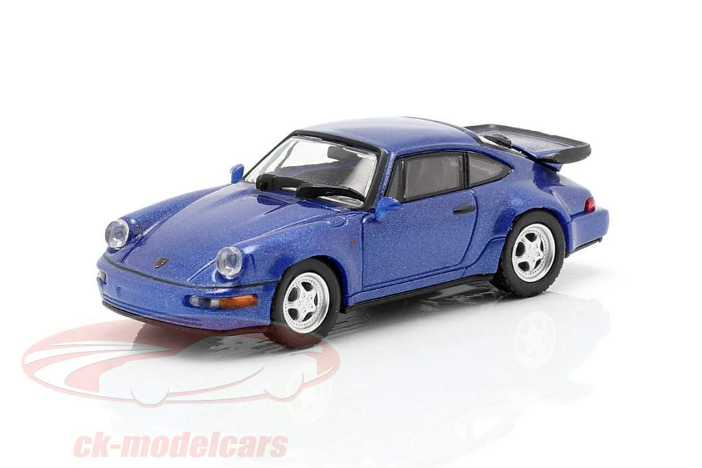Porsche 911 Turbo (964) year 1990 blue metallic 1:87 Minichamps