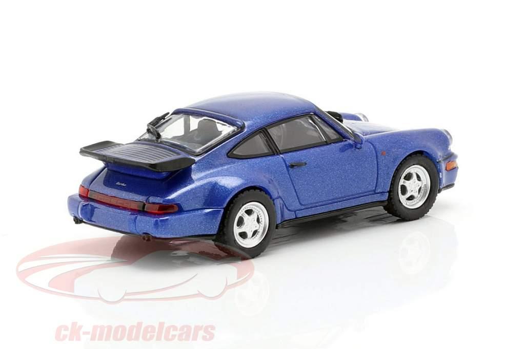 Porsche 911 Turbo (964) anno di costruzione 1990 blu metallico 1:87 Minichamps