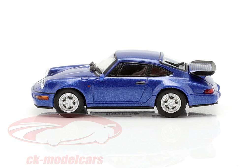 Porsche 911 Turbo (964) Opførselsår 1990 blå metallisk 1:87 Minichamps