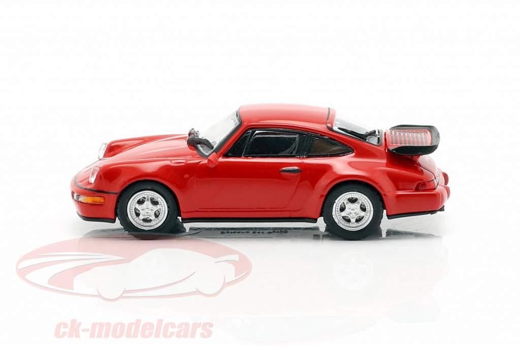Porsche 911 Turbo (964) year 1990 red 1:87 Minichamps