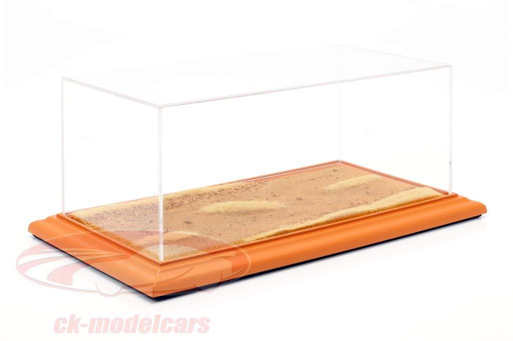 alto qualità acrilico display caso con diorama BASEPLATE Desert Road 1:18 Atlantic
