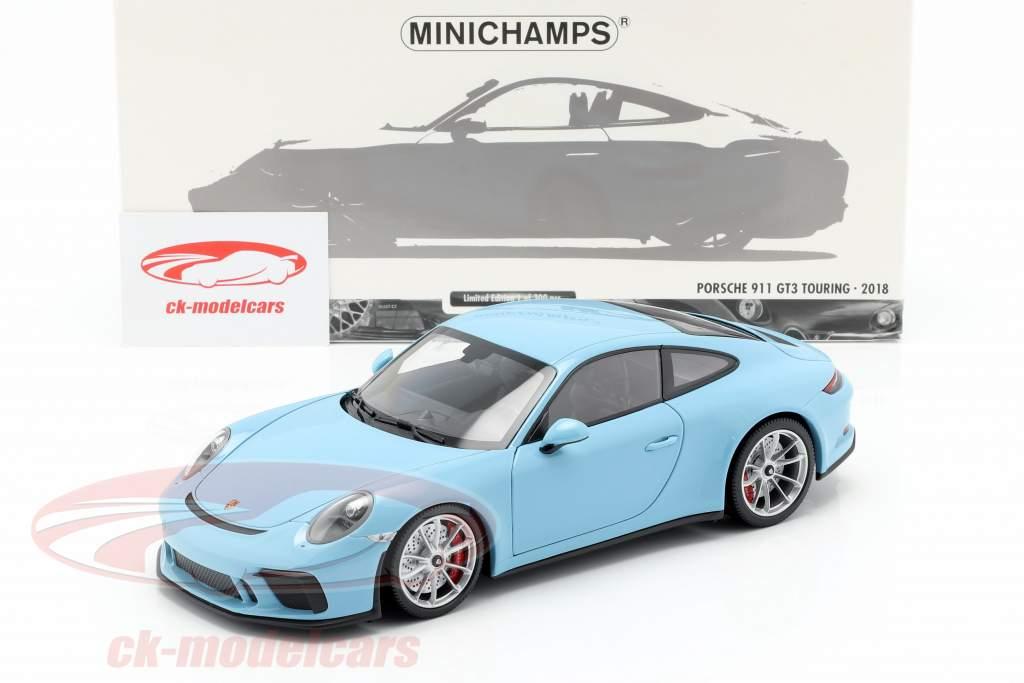 Porsche 911 (991 II) GT3 Touring Bouwjaar 2018 blauw 1:18 Minichamps