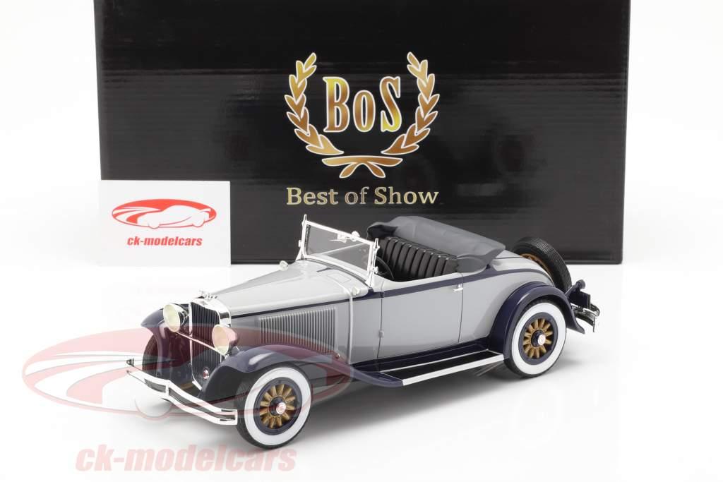 Dodge Eight DG Roadster converteerbaar Bouwjaar 1931 grijs-dark blue 1:18 BoS-Models