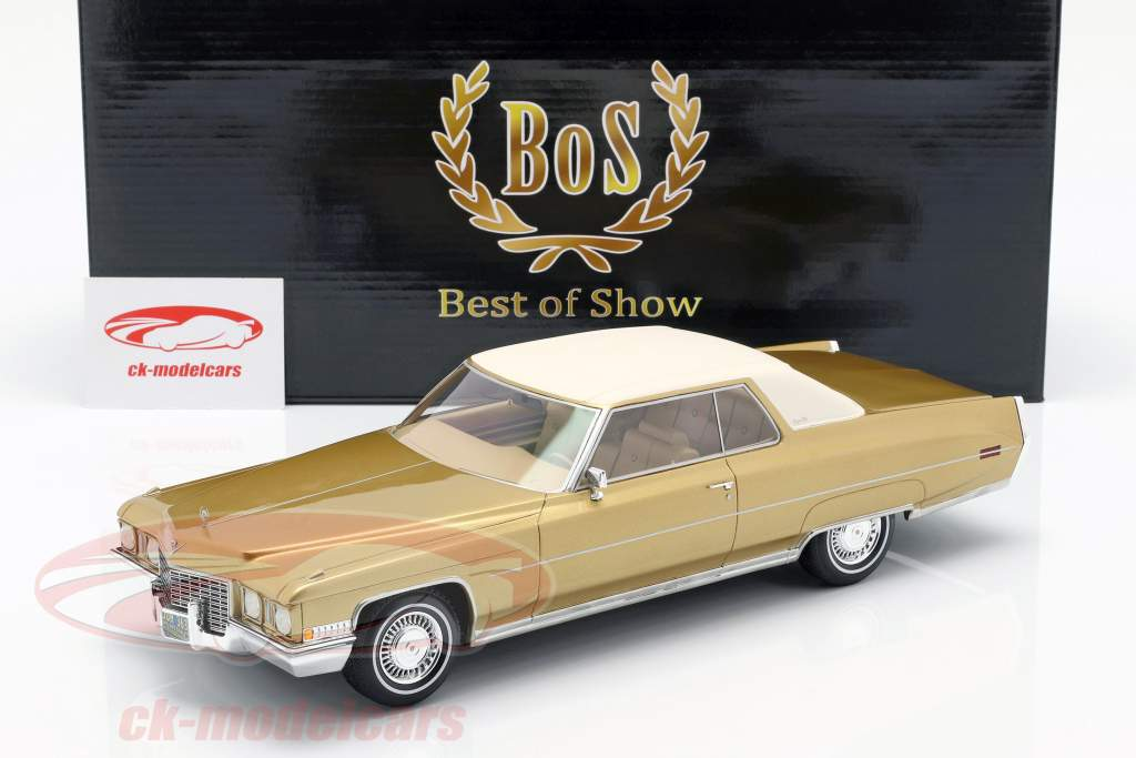 Cadillac Coupe DeVille year 1972 gold metallic / white 1:18 BoS-Models