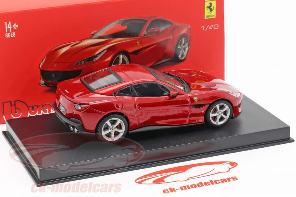 Ferrari Portofino Bouwjaar 2018 rood metalen 1:43 Bburago Signature