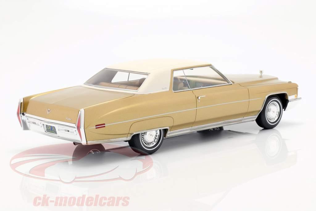 Cadillac Coupe DeVille Bouwjaar 1972 goud metallic / wit 1:18 BoS-Models