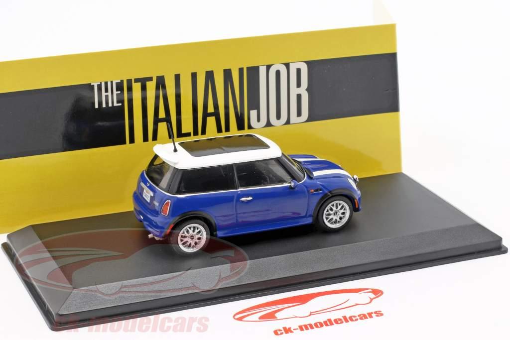 Mini Cooper S ano de construção 2003 filme The Italian Job (2003) azul / branco 1:43 Greenlight