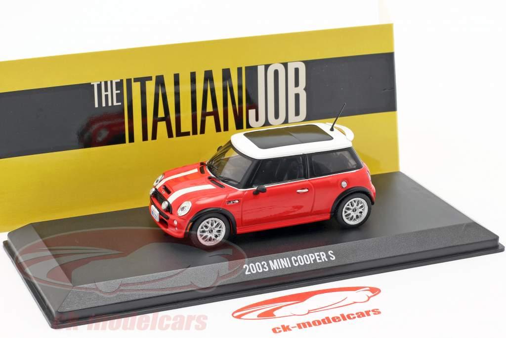 Mini Cooper S Baujahr 2003 Film The Italian Job (2003) rot / weiß 1:43 Greenlight