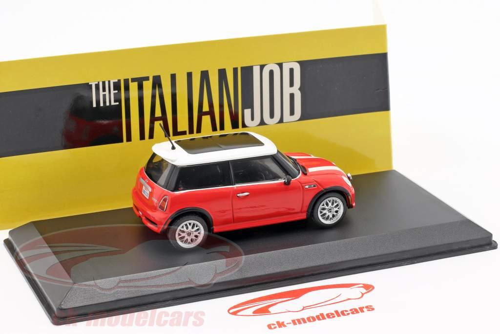 Mini Cooper S year 2003 Movie The Italian Job (2003) red / white 1:43 Greenlight