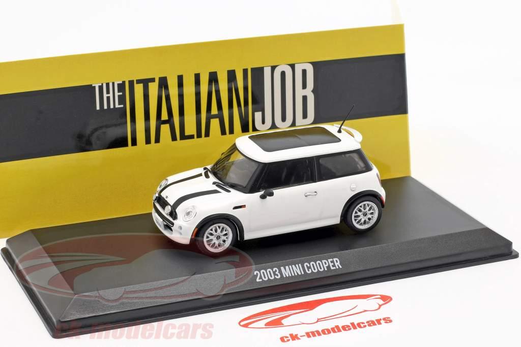 Mini Cooper S année de construction 2003 film The Italian Job (2003) blanc / noir 1:43 Greenlight