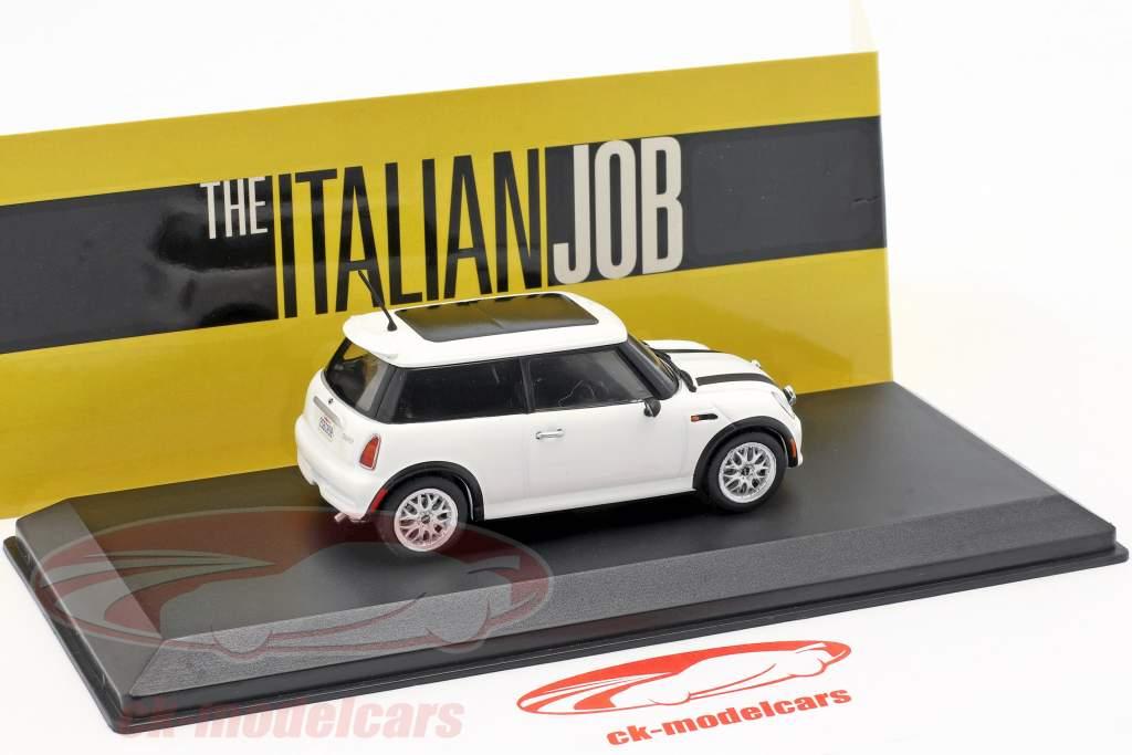 Mini Cooper S Baujahr 2003 Film The Italian Job (2003) weiß / schwarz 1:43 Greenlight