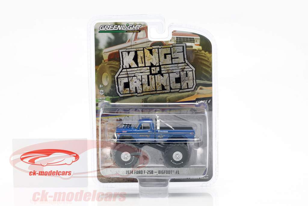 Ford F-250 Monster Truck Bigfoot #1 année de construction 1974 bleu 1:64 Greenlight