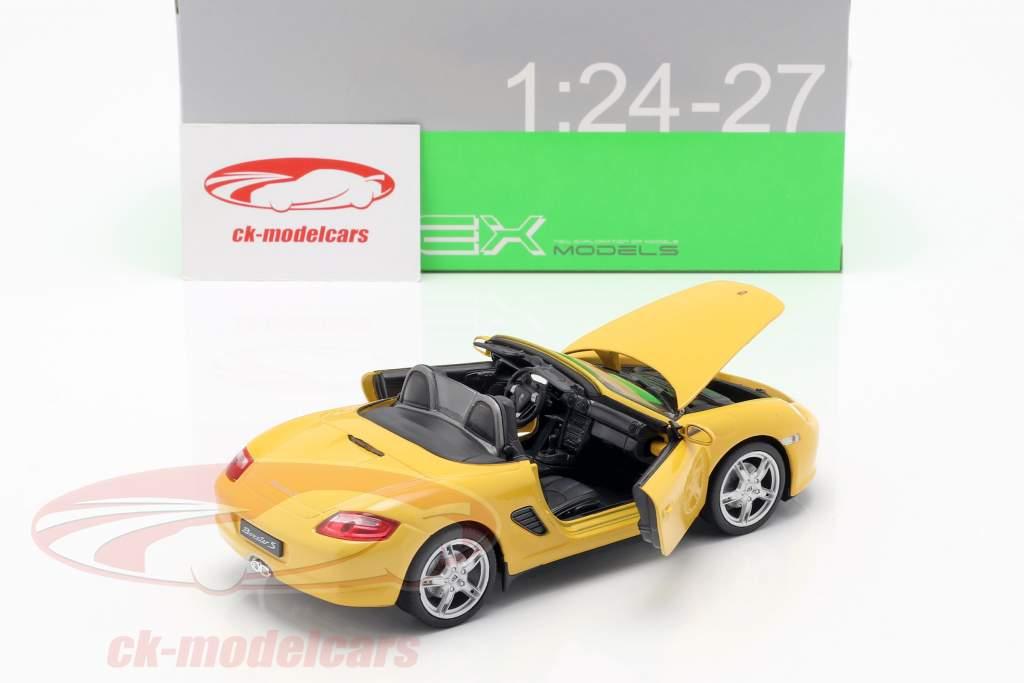 Porsche Boxster S (987) cabriolet année de construction 2012 jaune 1:24 Welly