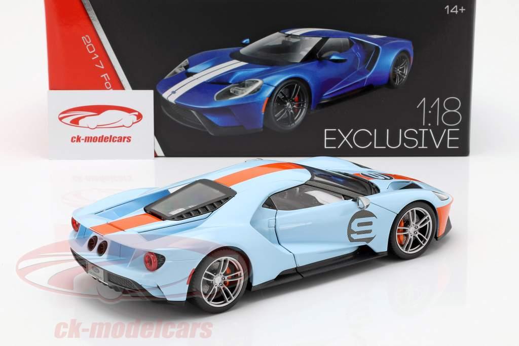 Ford GT Gulf #9 ano de construção 2017 azul claro / laranja 1:18 Maisto