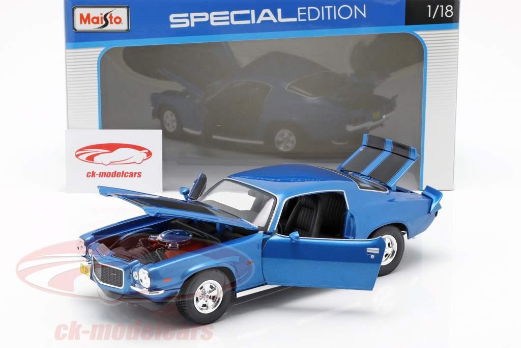 Chevrolet Camaro année de construction 1971 bleu métallique / noir 1:18 Maisto