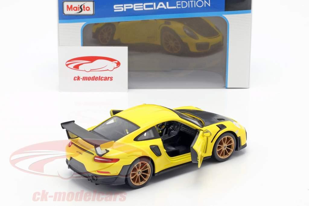 Porsche 911 (991 II) GT2 RS Opførselsår 2018 gul / sort 1:24 Maisto