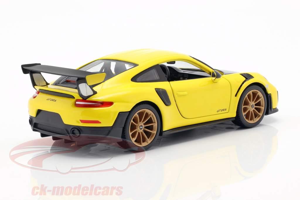 Porsche 911 (991 II) GT2 RS Baujahr 2018 gelb / schwarz 1:24 Maisto