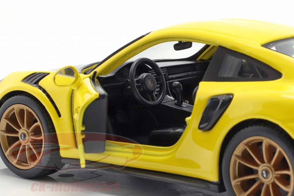 Porsche 911 (991 II) GT2 RS Bouwjaar 2018 geel / zwart 1:24 Maisto