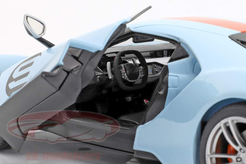 Ford GT Gulf #9 année de construction 2017 bleu clair / orange 1:18 Maisto