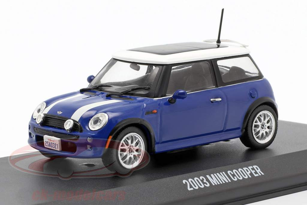 Mini Cooper S Bouwjaar 2003 film The Italian Job (2003) blauw / wit 1:43 Greenlight