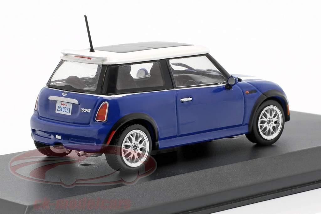 2003 Mini Cooper azul blanco The Italian Job 1:43 GreenLight 86546