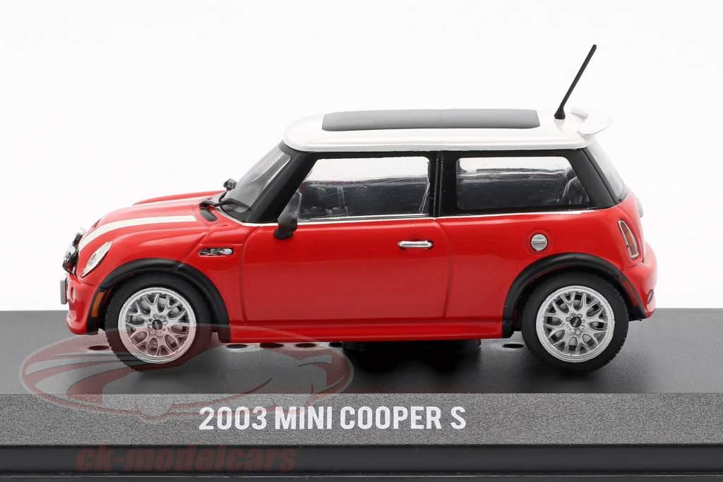 Mini Cooper S année de construction 2003 film The Italian Job (2003) rouge / blanc 1:43 Greenlight