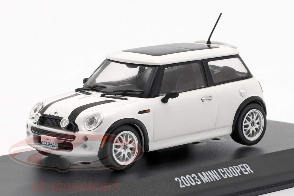 Mini Cooper S año de construcción 2003 película The Italian Job (2003) blanco / negro 1:43 Greenlight