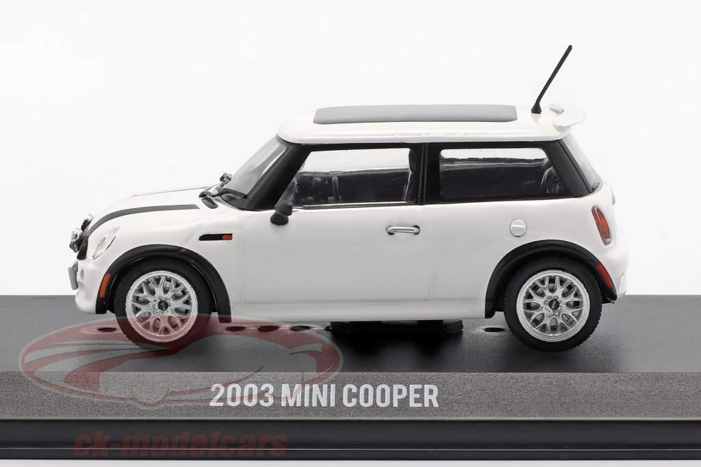 Mini Cooper S anno di costruzione 2003 film The Italian Job (2003) bianco / nero 1:43 Greenlight
