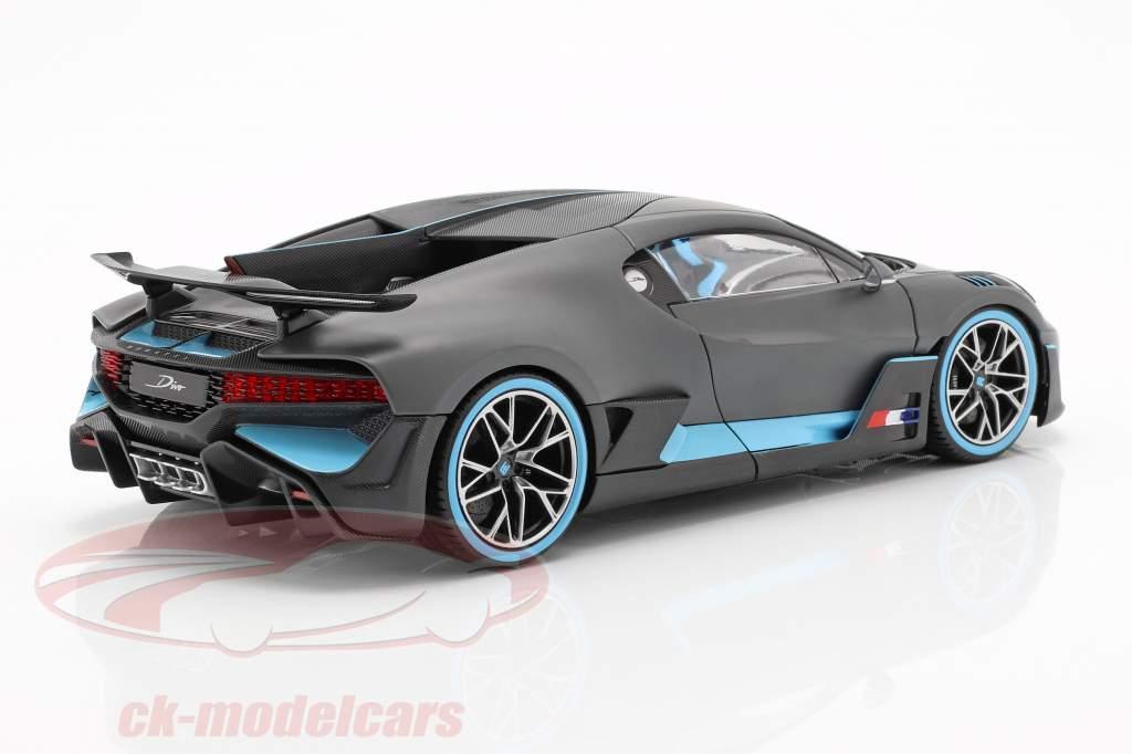Bugatti Divo Opførselsår 2018 måtten grå / lyseblå 1:18 Bburago