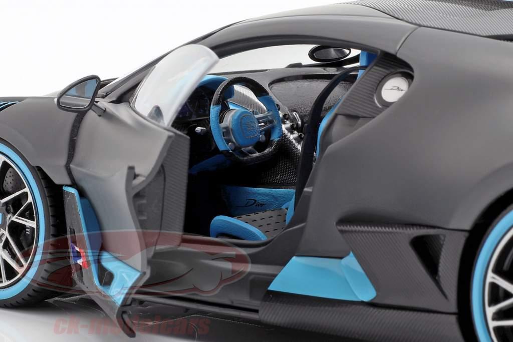 Bugatti Divo année de construction 2018 natte gris / bleu clair 1:18 Bburago