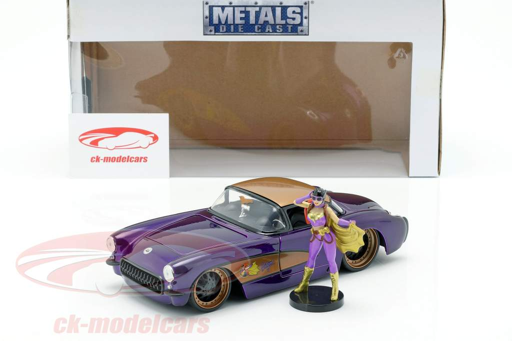 Chevy Corvette anno di costruzione 1957 con Batgirl DC Comics viola scuro metallico 1:24 Jada Toys