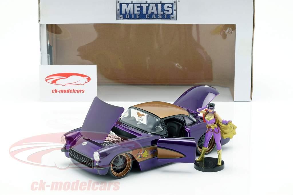 Chevy Corvette year 1957 with Batgirl DC Comics dark purple metallic 1:24 Jada Toys