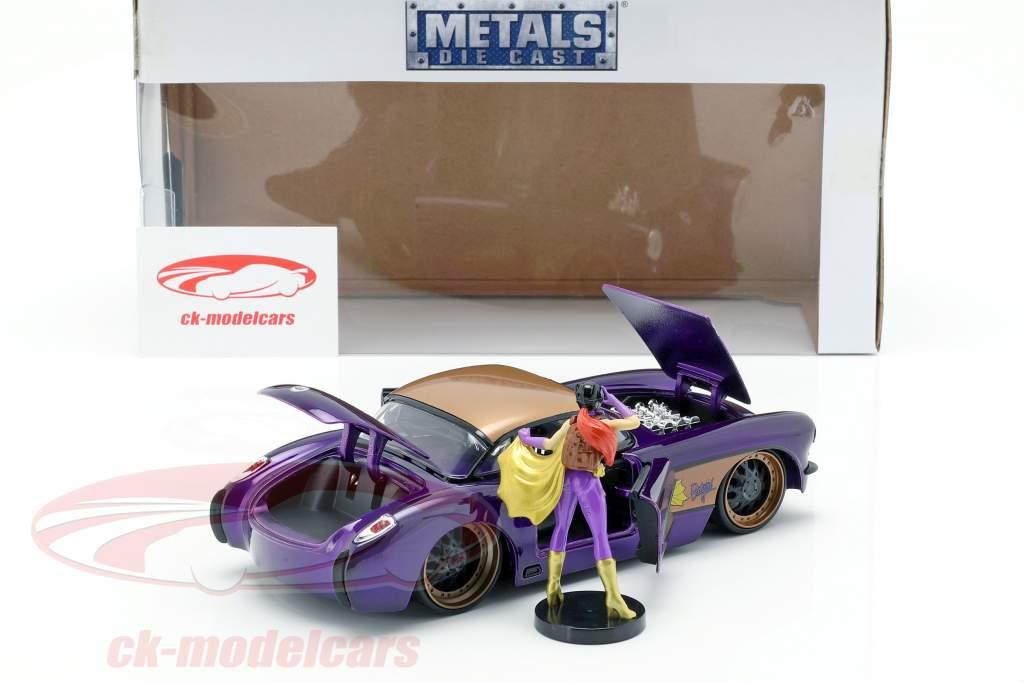 Chevy Corvette Opførselsår 1957 med Batgirl DC Comics mørk lilla metallisk 1:24 Jada Toys