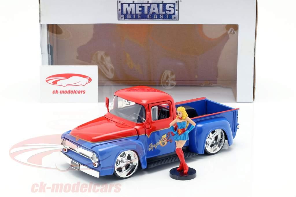 Ford F-100 Pick Up Bouwjaar 1956 met Supergirl DC Comics rood / blauw 1:24 Jada Toys