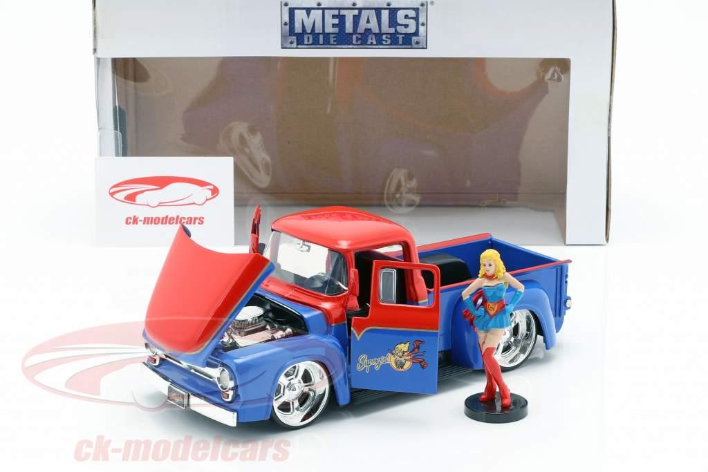 Ford F-100 Pick Up anno di costruzione 1956 con Supergirl DC Comics rosso / blu 1:24 Jada Toys