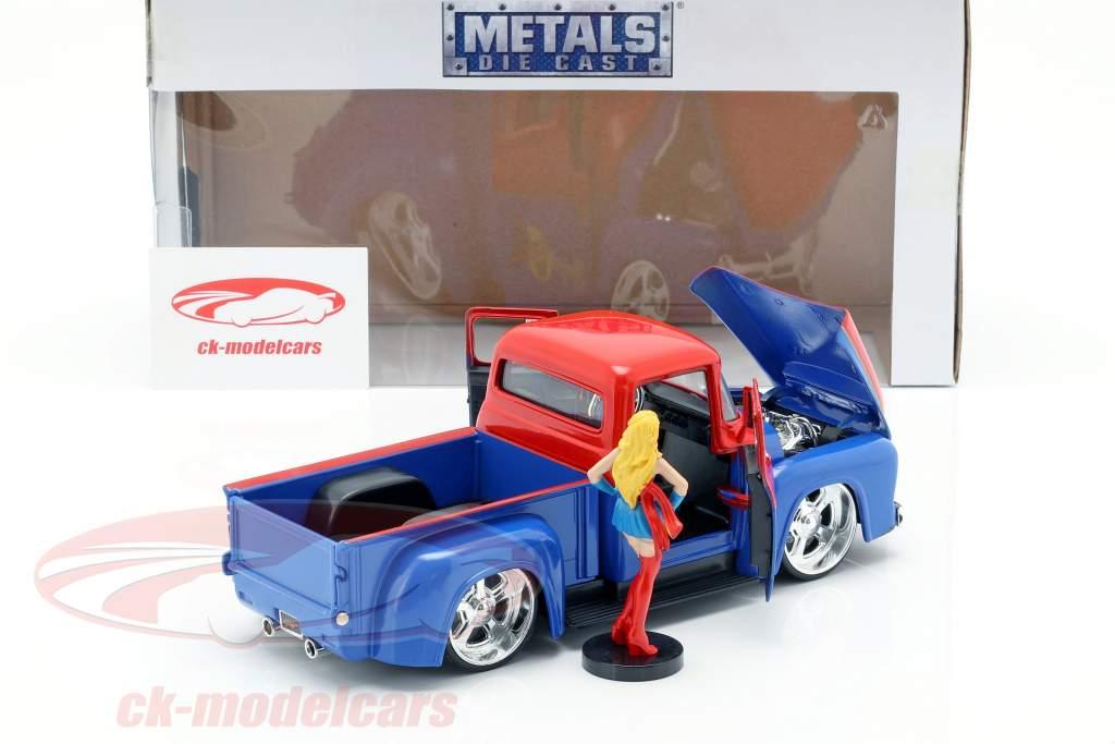 Ford F-100 Pick Up ano de construção 1956 com Supergirl DC Comics vermelho / azul 1:24 Jada Toys