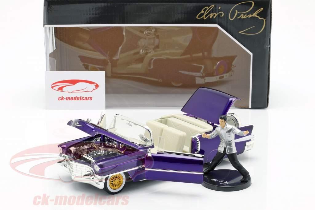 Cadillac Eldorado année de construction 1956 avec Elvis Figur violet foncé métallique 1:24 Jada Toys