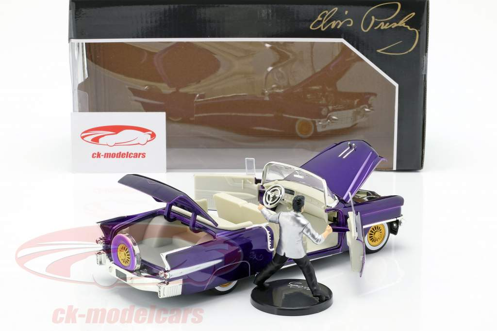 Cadillac Eldorado Opførselsår 1956 med Elvis Figur mørk lilla metallisk 1:24 Jada Toys