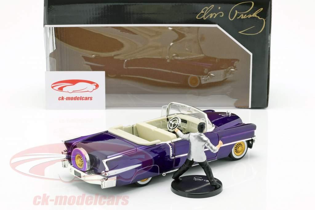 Cadillac Eldorado ano de construção 1956 com Elvis Figur roxo escuro metálico 1:24 Jada Toys