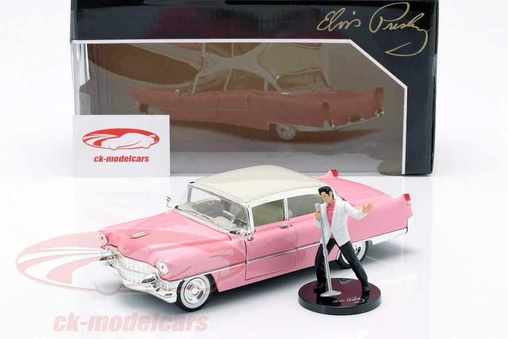 Cadillac Fleetwood Bouwjaar 1955 met Elvis figuur roze / wit 1:24 Jada Toys