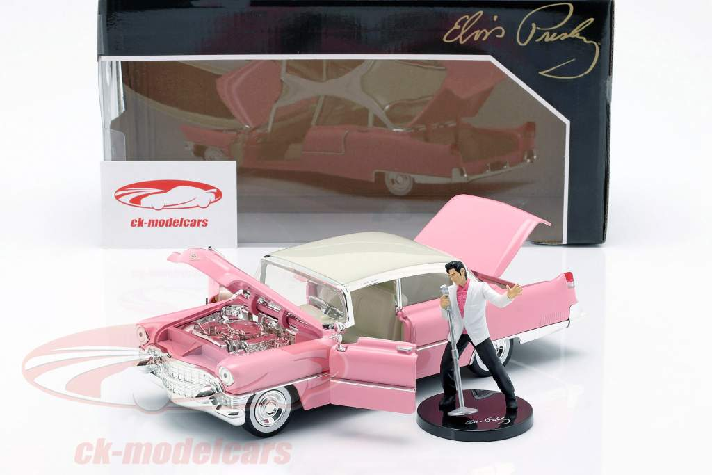 Cadillac Fleetwood Opførselsår 1955 med Elvis figur pink / hvid 1:24 Jada Toys