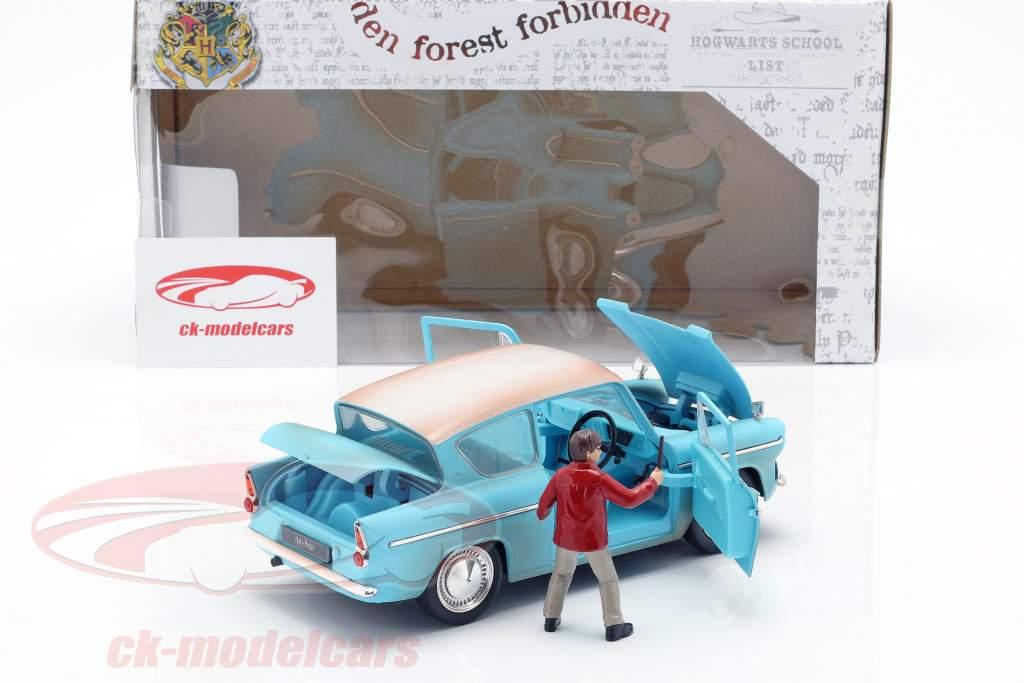 Ford Anglia Bouwjaar 1959 met Harry Potter figuur lichtblauw 1:24 Jada Toys
