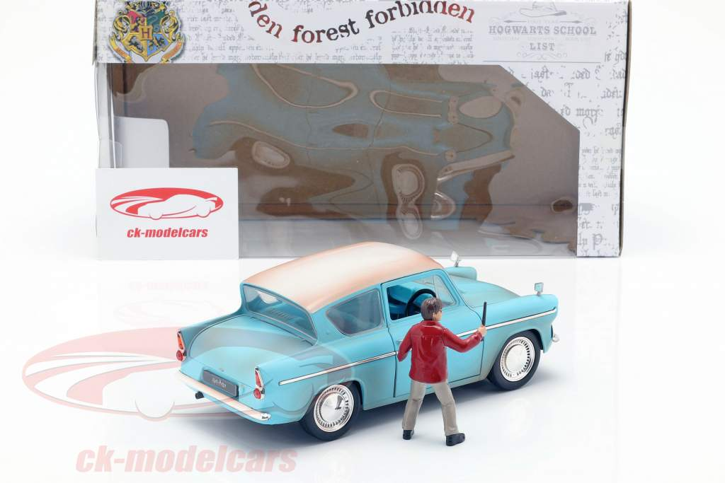 Ford Anglia Opførselsår 1959 med Harry Potter figur lyseblå 1:24 Jada Toys