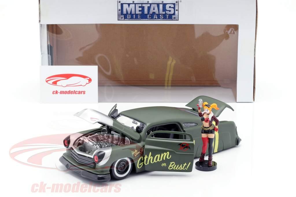 Mercury année de construction 1951 avec Harley Quinn DC Comics olive vert / argent 1:24 Jada Toys