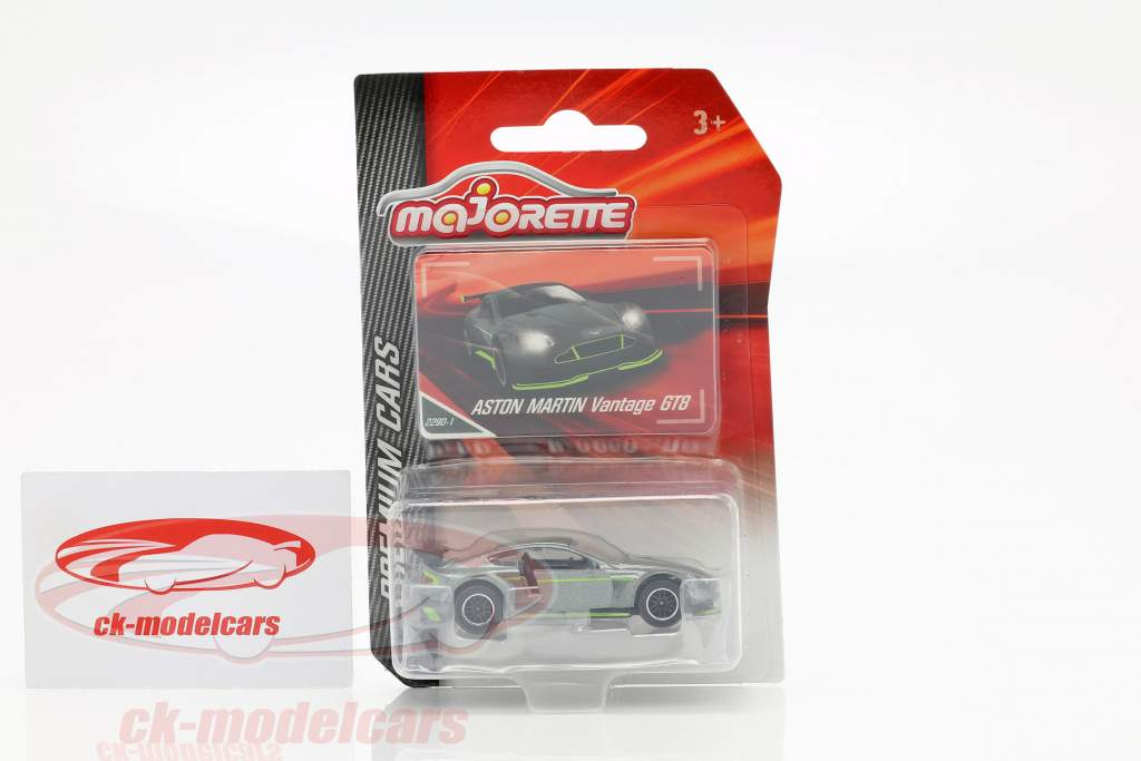 Aston Martin Vantage GT8 plata / verde 1:64 Majorette