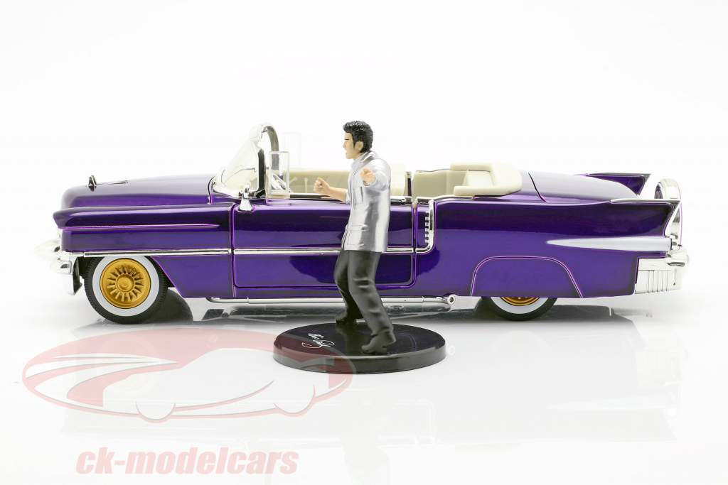 Cadillac Eldorado year 1956 with Elvis Figur dark purple metallic 1:24 Jada Toys