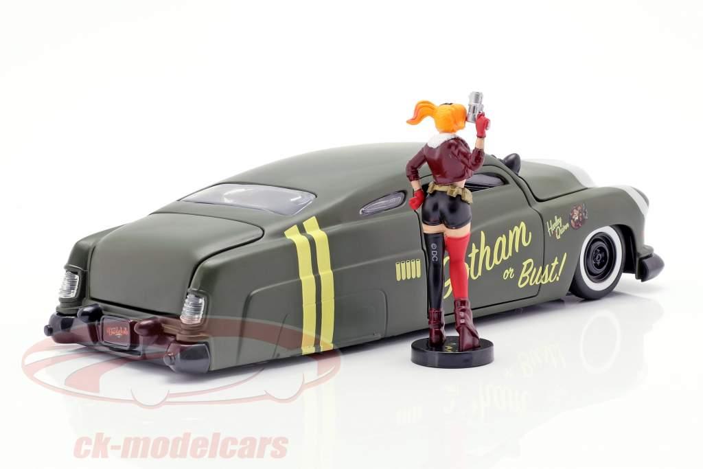 Mercury Baujahr 1951 mit Harley Quinn DC Comics oliv grün / silber 1:24 Jada Toys