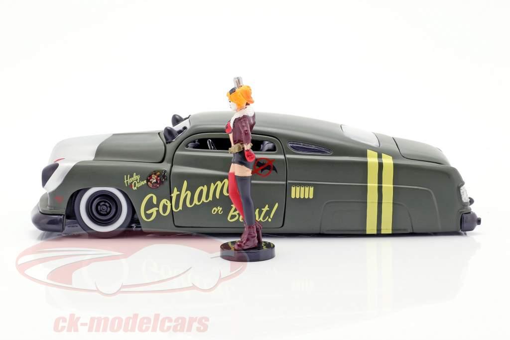 Mercury ano de construção 1951 com Harley Quinn DC Comics oliva verde / prata 1:24 Jada Toys
