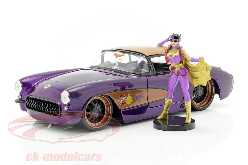 Chevy Corvette Bouwjaar 1957 met Batgirl DC Comics donkerpaars metalen 1:24 Jada Toys